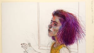 A drawing of a seated woman from the waist up. She looks tense but confident. She has bushy shoulder-length purple hair.