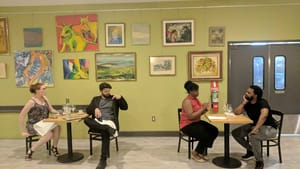 Compatibility isn't everything: Ellen Cohn, Christopher David Roché, Sisi Wright, and Chauncey Meeks Owens in 'Destiny is a Careless Waiter.' (Image courtesy of Juniper Productions.)