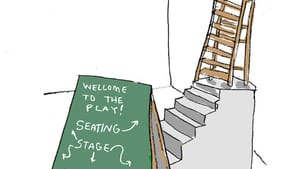 Fringe producers try to increase accessibility, but often leave out patrons who are disabled. (Illustration by Hannah Kaplan for BSR.)