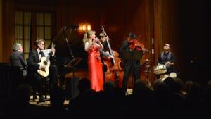 "Mimi and the guys tackle Piazzolla's ""Libertango."" (Photo by Pete Checchia, courtesy of Dolce Suono)"