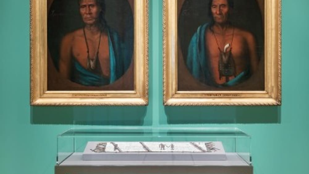 Promise and betrayal in early America: 'Portrait of Lapowinsa' and 'Portrait of Tishcohan,' next to Lenape beadwork. See below for full caption info. (Photo by Joseph Hu.)
