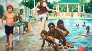 Close enough to get splashed: 'Swimming Pool at Hunting Park' (1975-1976). (Image courtesy of Woodmere Art Museum.)
