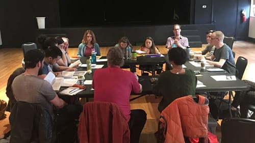 On day one of rehearsal for 'Curse of the Starving Class,' EgoPo artists didn't know what was coming. (Photo courtesy of EgoPo.)