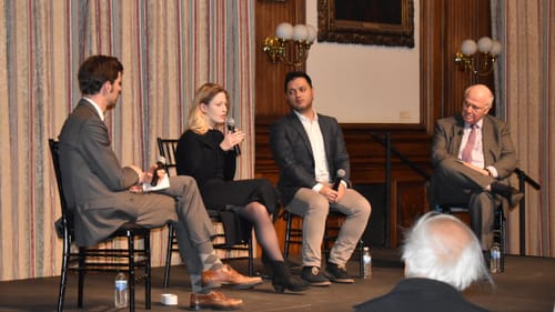 Exploring vehicles of song: Erik Petersons, Ceri Owen, Nicholas Phan, and Jay Winter on an Emerging Voices panel at the College of Physicians. (Photo by Margaret Darby.)