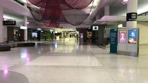 Eerily empty: SFO Terminal B at 8pm on April 4. (Photo by Roz Warren.)