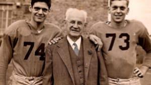 The author (left) as hero, Fieldston School, New York, 1954: 'I feel like someone else.'