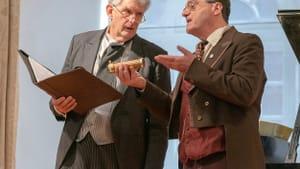 Is music abstract or expressive? Robert Edwin (left) as Gerhard Denhoff and Joe Barron as Eduard Hanslick. (Photo by Don Wilson.)