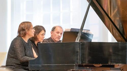 Michal Schmidt, Katarzyna Salwinski, and Rollin Wilber play Liszt's 'Grand Galop Chromatique,' for six hands. (Photo by Don Wilson.)