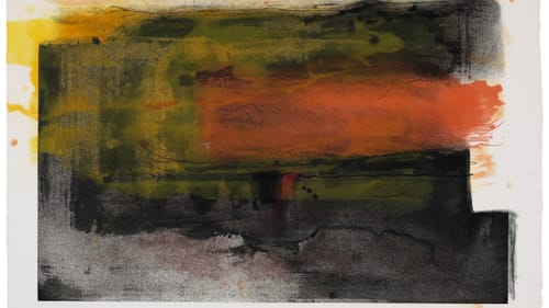 Color that seems to emerge from the fabric: Frankenthaler's 1983 'Deep Sun.' (Photo courtesy of PAFA; see complete credit info below.)