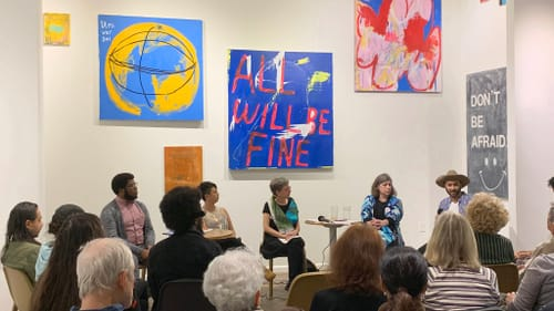 All will be fine, if we step up to the plate: Kyle V. Hiller leads a panel on activism at FRIEDA. (Photo by David Wong.)