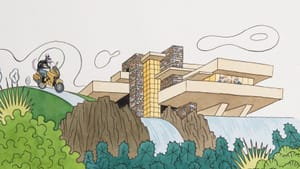 Steven Guarnaccia moves three little pigs into a famous Frank Lloyd Wright in his 2010 'The Three Little Pigs: An Architectural Tale.' (Image courtesy of Abrams.)