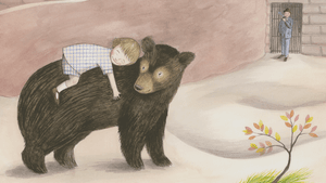 Illustration by Sophie Blackall for <em>'Finding Winnie: The True Story of The World's Most Famous Bear</em>,' written by Lindsay Mattock. (Image courtesy of the Brandywine Museum)