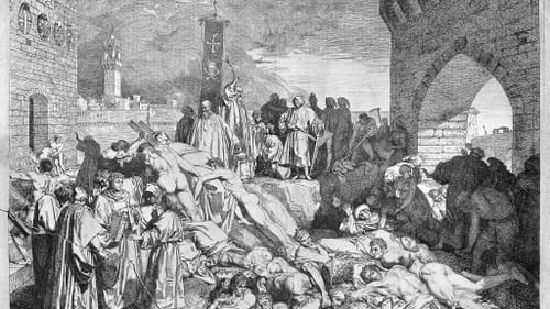 An illustration of the Plague in Florence in 1348. They did not practice physical distancing. (Image via Wikimedia Commons.)