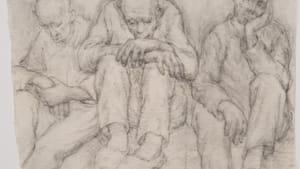 Włodzimierz Siwierski's 'A Day Off,' drawn inside Auschwitz in 1941. (Image courtesy of Auschwitz-Birkenau State Museum.)