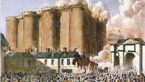 A color rendering of the French Revolution in 1789. A fortress burns and homes collapse behind a mass of armed people