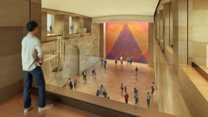 View overlooking PMA's planned Forum. (Architectural rendering by Gehry Partners, courtesy of Philadelphia Museum of Art)