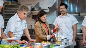 """Is Chris Morales (Carlos Santos) a """"real Mexican""""? America Ferrera directs an episode of 'Gentefied' that heads to a high-end kitchen. (Photo by Kevin Estrada, for Netflix.)"""