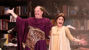 Bringing laughs to mere mortals: Brad Oscar and Jessie Cannizzaro in McCarter's 'The Gods of Comedy.' (Photo by Tom Miller.)