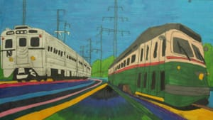 Pulsing with the energy of transit: Geraldo Gonzalez's 2019 'NJ Transit Train and SEPTA PPC Trolley.' (Image courtesy of Delaware Division of the Arts.)