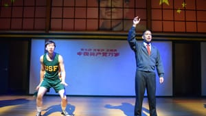 Proving himself to a calculating coach: Richard Chan and Justin Jain in 'The Great Leap.' (Photo courtesy of InterAct Theatre Company, 2019.)