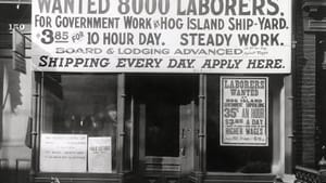 A sign at Hog Island recruiting center, circa 1918 (southeast of modern-day Tinicum). Source: The National Archives.
