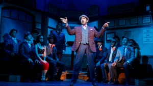 Darius de Haas (Nicely-Nicely Johnson) and the cast of 'Guys and Dolls.' (Photo by Joan Marcus.)