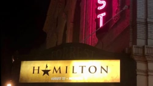 Welcome to 'Hamilton'...good luck in the line for the bathroom. (Photo by Alaina Johns.)