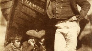 D.O. Hill and Robert Adamson's 1845 New Haven salt print from a calotype negative: 'Sandy Linton, his boat and his bairns.' Collection of Michael Mattis and Judy Hochberg. (Image courtesy of the Barnes.)