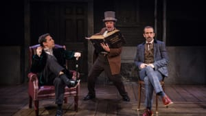 Third time's (still) the charm: Damon Bonetti, Steve Pacek, and Dave Johnson in 'The Hound of the Baskervilles' at Theatre Horizon. (Photo by Daniel Kontz.)