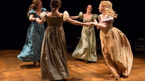 """Approaching and retreating: Julianna Zinkel, Clare Mahoney, Jessica Bedford, and Becky Baumwoll (left to right) in """"Pride and Prejudice"""" at People's Light. Photo by Mark Garvin."""