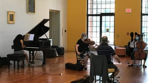 Pyxis Piano Quartet in rehearsal at the Delaware Art Museum (Photo by Gail Obenreder.)