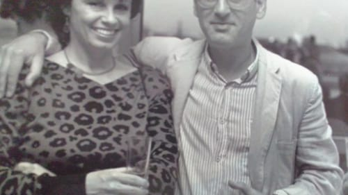 Loving the music, too: Merilyn Jackson with British composer Michael Nyman at the 1987 New Music in America festival in Philadelphia. (Photo courtesy of the author.)