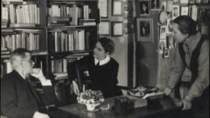James Joyce with Sylvia Beach at Shakespeare & Co., Paris, 1920.