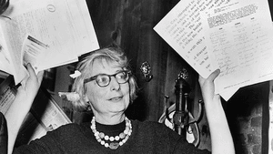 Jane Jacobs presenting evidence during her fight to save the West Village. (Photo via Creative Commons/Wikimedia)