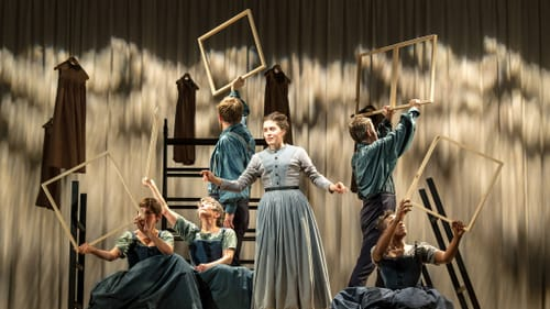 Fresh and relevant for the quarantine viewer: the ensemble of the National Theatre's 'Jane Eyre.' (Photo by Manuel Harlan.)