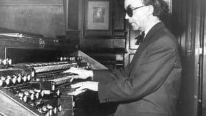 Jean Langlais at the organ of Sainte-Clotilde, 1958.