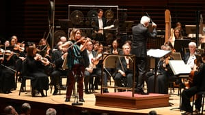 Saturated with melodic flavor: violinist Leila Josefowicz and composer/conductor John Adams with the Philadelphia Orchestra. (Photo by Pete Checchia.)