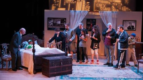 """The cast of """"'Johnny"""" Schicchi,' L to R: Dave Perelman, John Rudolph (in bed), Tiffany Nack, Andrew Shaw, David Price, Elizabeth Oliver, Andrea Broido, Brian McKay, Zachary Sigafoes, and Henry Parson. (Photo by John Sturgis Photography.)"""