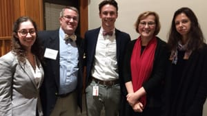 Kaywin Feldman (in red) with members of the organizing Society of Winterthur Fellows. (Image courtesy of Winterthur.)