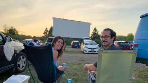 Movie-theater misser Kelly Conrad (left) tried out the view at the Mahoning Drive-In. (Photo courtesy of the author.)