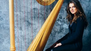 Bridget Kibbey will play the harp in the new all-Bach program from PCMS this week. (Photo by Roy Cox).