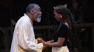 A space that sends you back to the actors: Robert Jason Jackson as Lear and Eunice Akinola as Cordelia at Quintessence. (Photo by Linda Johnson.)