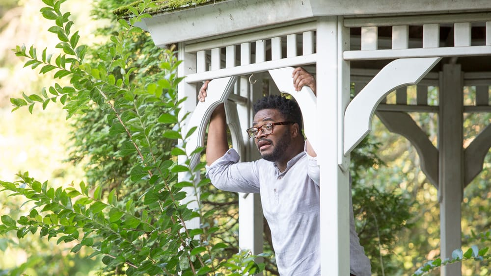 A performance snapshot of actor Buchanan as he leans out from a gazebo in a greenspace.