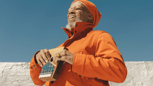 Laraaji laughs in his own world of sound. (Image courtesy of Bowerbird.)