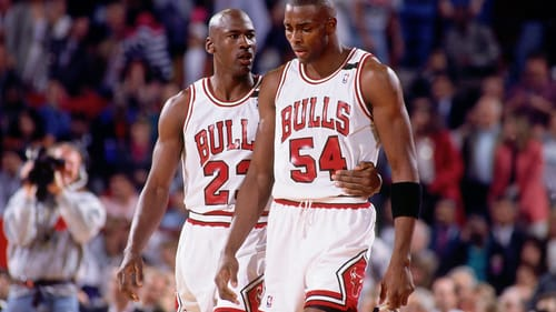 Leadership on a major-league sports team is a difficult job: Michael Jordan and teammate Horace Grant. (Photo by Nathaniel S. Butler, courtesy of Netflix.)