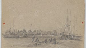 Stop here, please: an 1856 drawing of the Philadelphia quarantine station viewed from the water, by artist James Fuller Queen. (Image courtesy of the Library of Congress.)