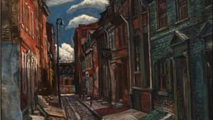1948's 'Elfreth's Alley,' by Edward Loper Sr. (1916–2011). Oil on canvas, 29 5/8 x 24 5/8 inches. Delaware Art Museum, Gift of E.I. du Pont de Nemours and Company, 2017. © Estate of Edward Loper Sr.
