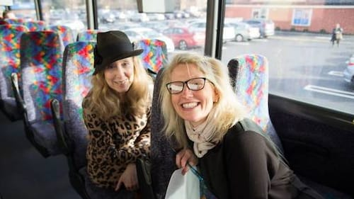 Business in the front, party in the back: Stacia Friedman (left) and Lordi pal and partner Jennifer Ann Ehinger. (Photo by Eugene Hurwitz.)