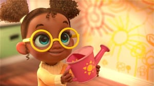 A colorful computer-animated still of a Black girl with large yellow glasses, smiling and holding a pink watering can.