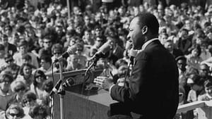 Martin Luther King Jr. speaking against the Vietnam War at the St. Paul Campus of the University of Minnesota in 1967. (Photo via Wikimedia Commons.)